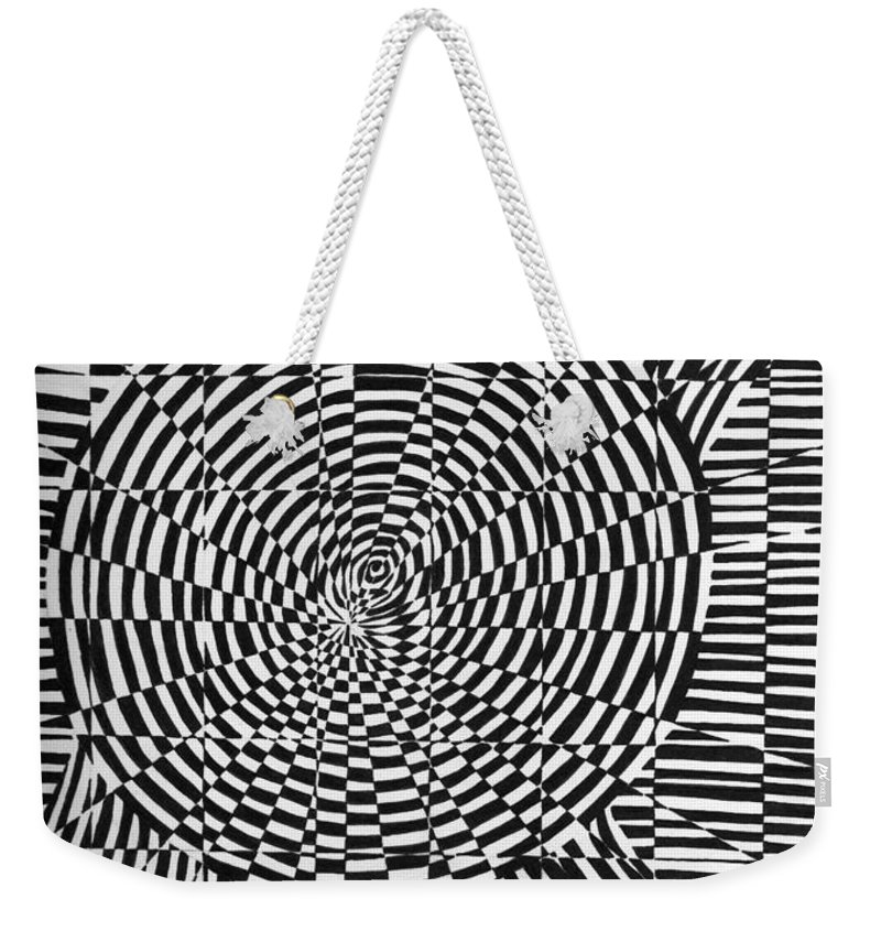 Abstract Weekender Tote Bag featuring the drawing Unraveled by Crystal Hubbard