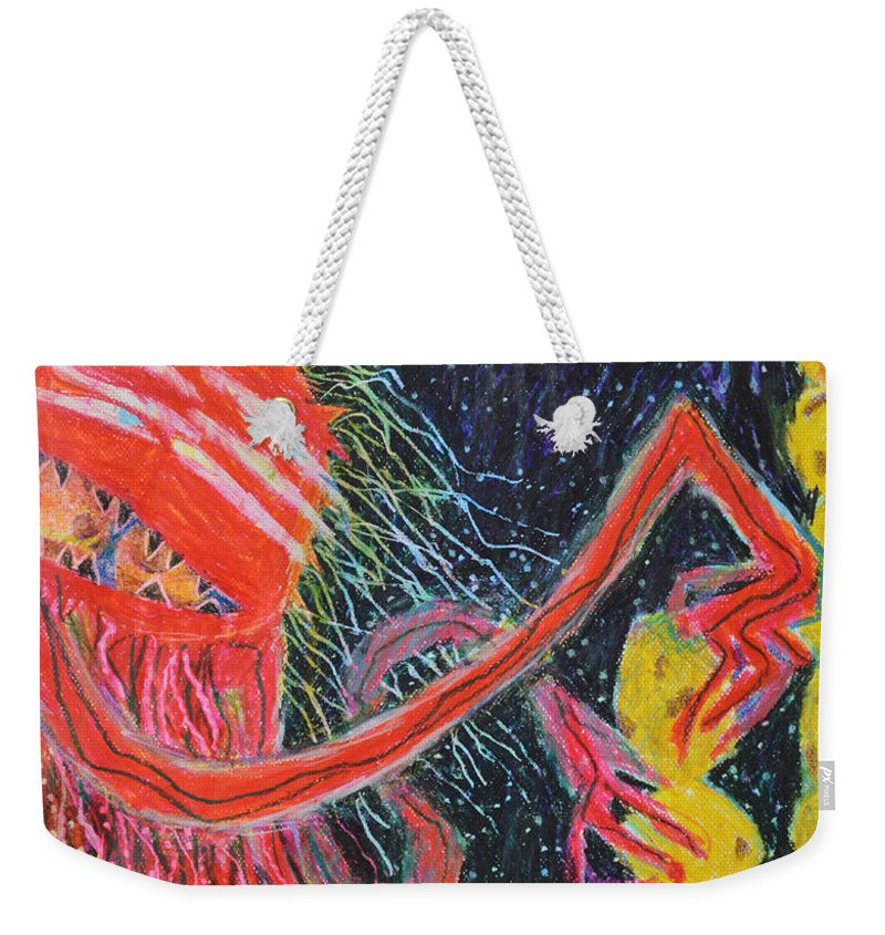 Abstract Outsider Modern Raw Red Yellow Blue Lady Cookies Folk Weekender Tote Bag featuring the painting Unsatiated - Cropped by Nancy Mauerman