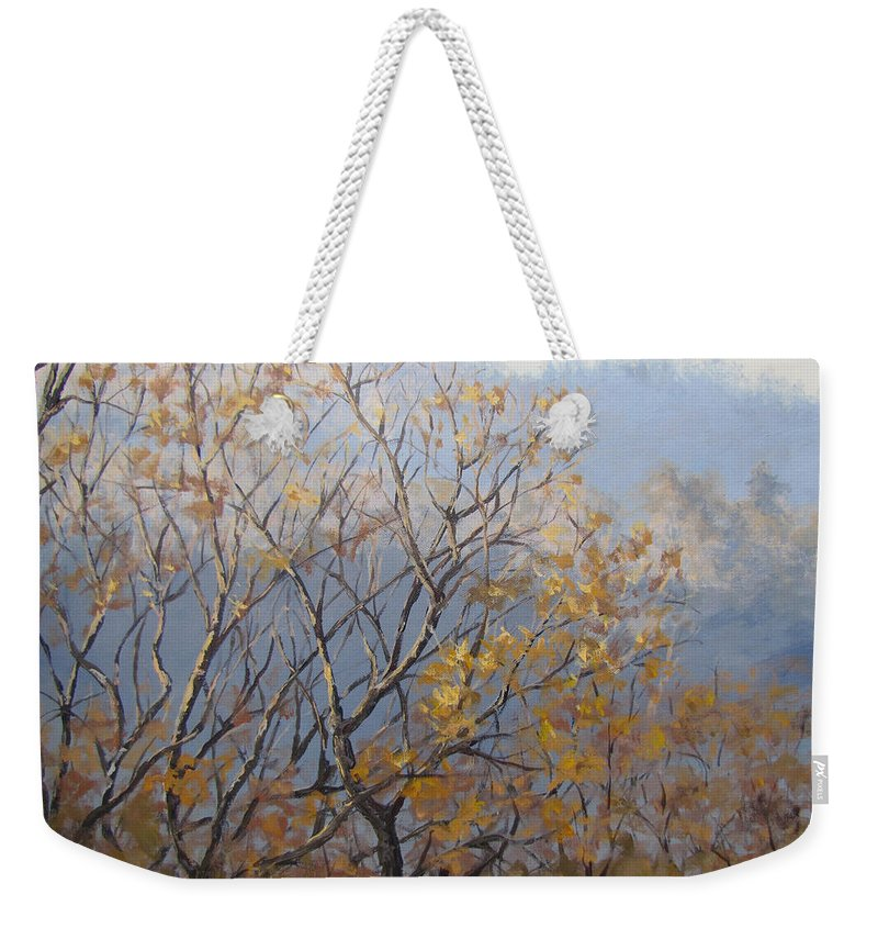 Fall Weekender Tote Bag featuring the painting Until Next Year by Karen Ilari