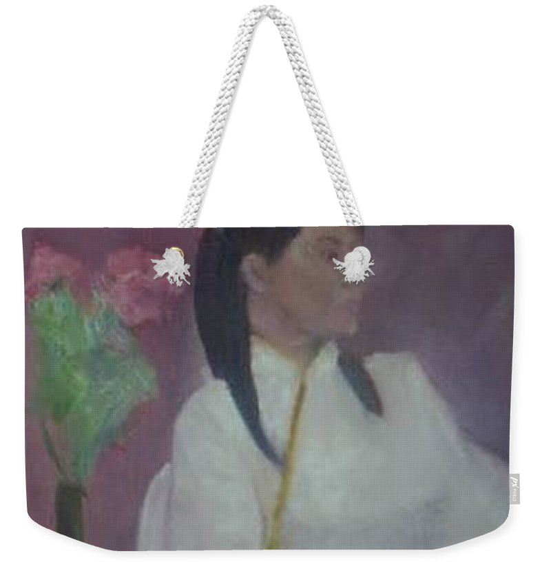 Woman Weekender Tote Bag featuring the painting Untitled #2 by Sheila Mashaw