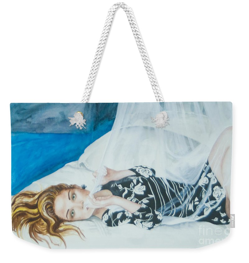 Woman Weekender Tote Bag featuring the painting Untitled by Carolyn Osborne