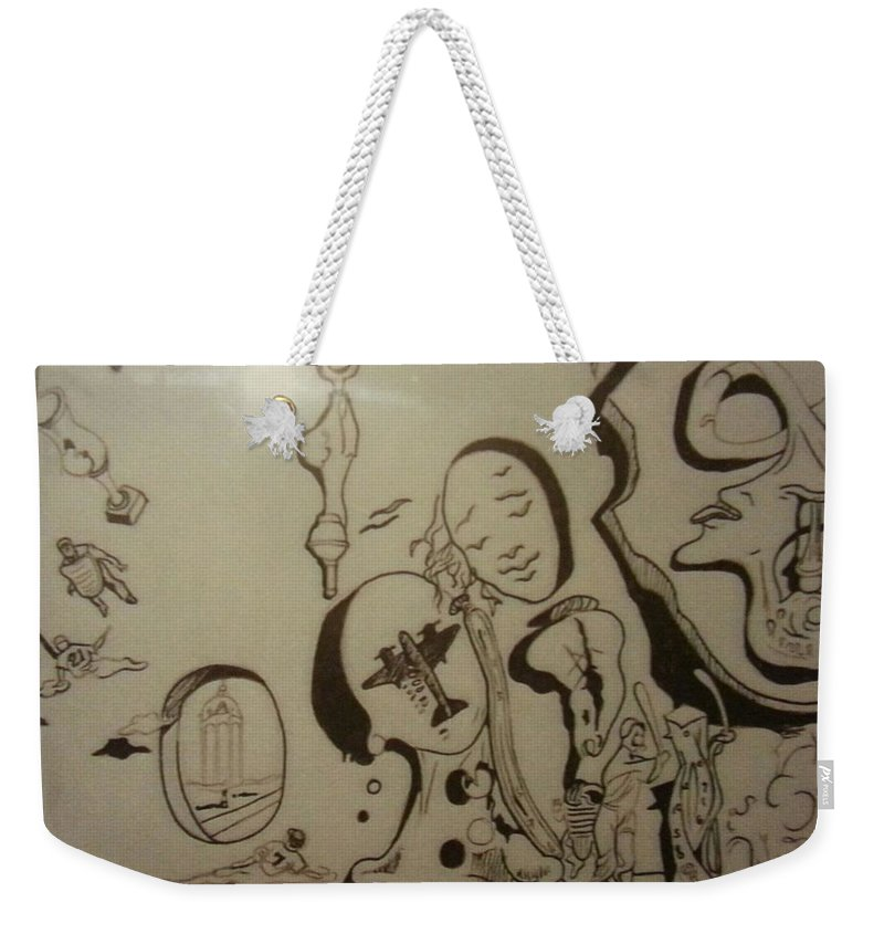 Weekender Tote Bag featuring the drawing Untitled by Jude Darrien