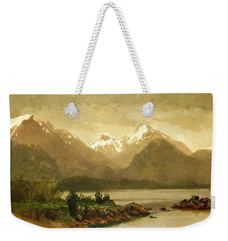 Albert Bierstadt Weekender Tote Bag featuring the painting Untitled Mountains And Lake by Albert Bierstadt
