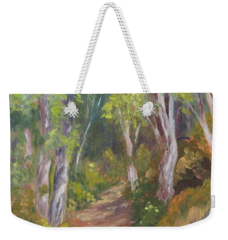 Trail Weekender Tote Bag featuring the painting Uphill Path-batiquitos by Inka Zamoyska