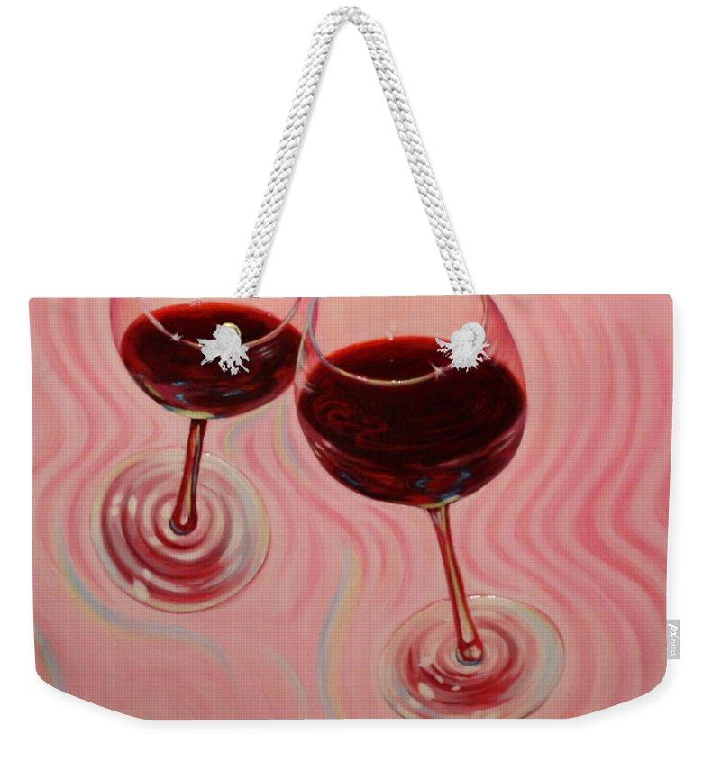 Flying Wine Cork Weekender Tote Bag featuring the painting Uplifting Spirits II by Sandi Whetzel