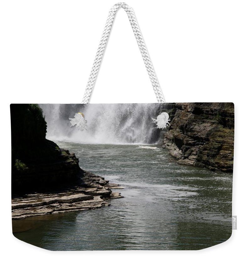 Genesee River Weekender Tote Bag featuring the photograph Upper Falls Letchworth State Park by Christiane Schulze Art And Photography