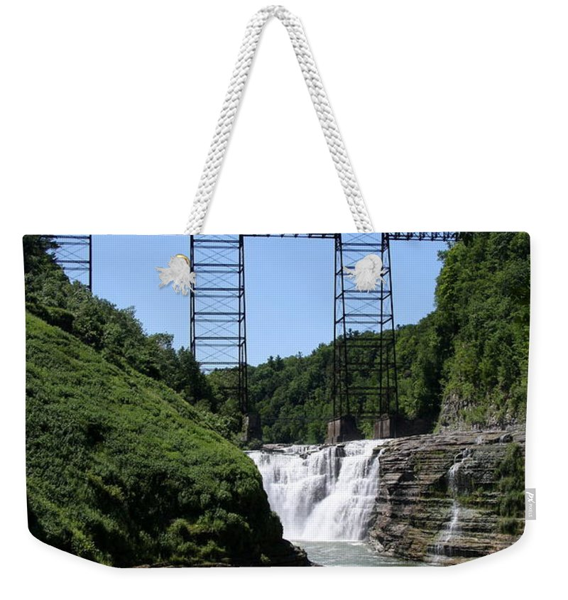 Upper Falls Of The Genesee River Weekender Tote Bag featuring the photograph Upper Falls Of The Genesee River by Christiane Schulze Art And Photography