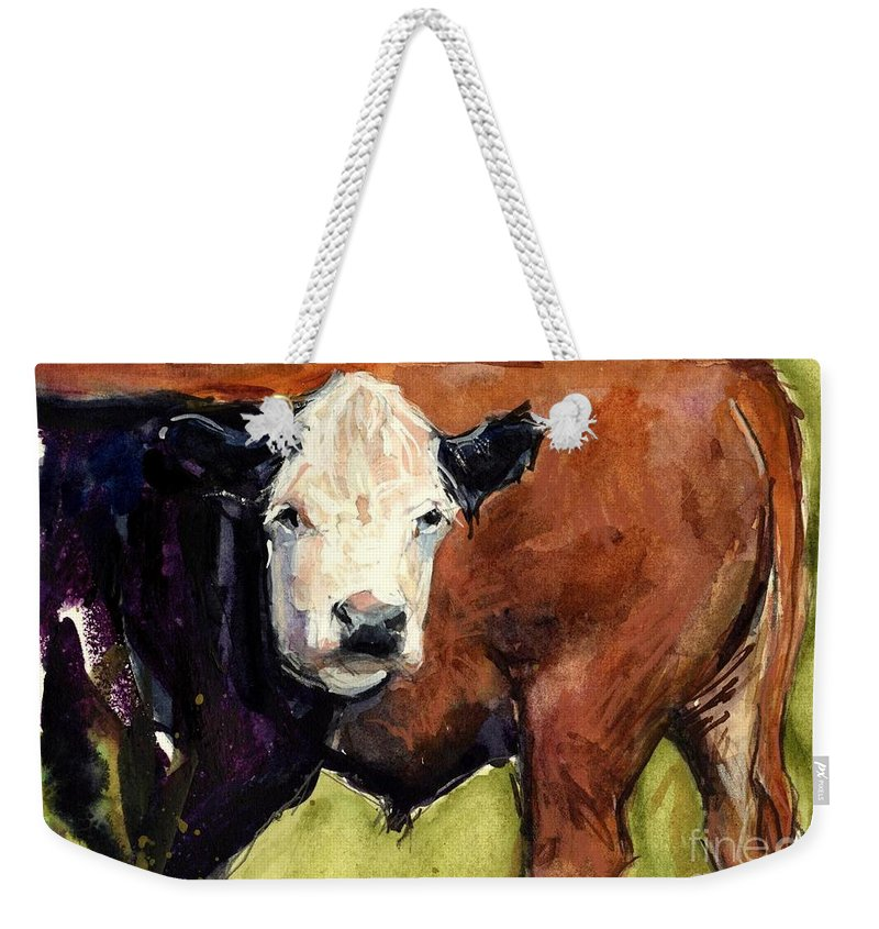 Cows Weekender Tote Bag featuring the painting Upper Field by Molly Poole