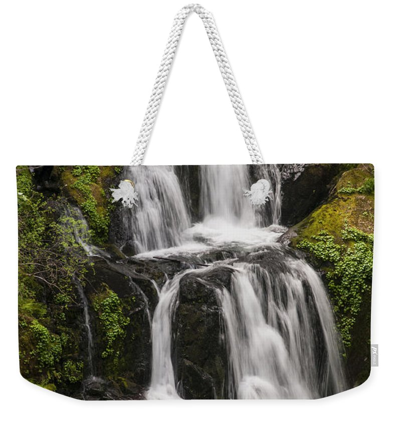 Kentucky Falls Trail Trails Smith River Sluslaw National Forest Oregon Water Waterfall Upper Waterfalls Tree Trees Park Parks Rivers Landscape Landscapes Waterscape Waterscapes Nature Weekender Tote Bag featuring the photograph Upper Kentucky Falls by Bob Phillips
