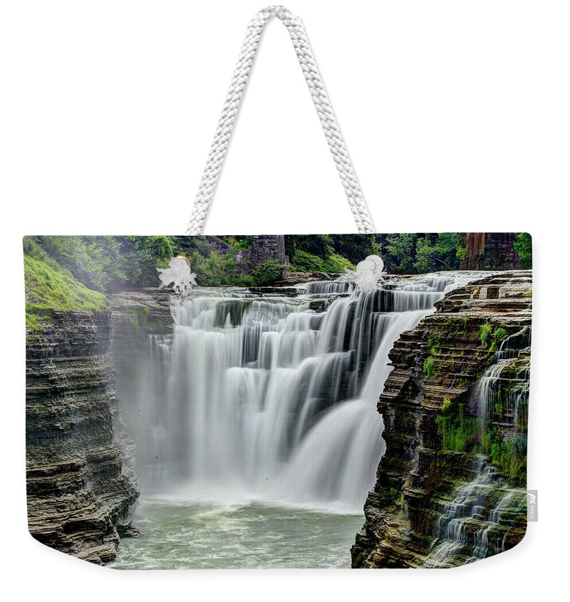 Letchworth State Park Weekender Tote Bag featuring the photograph Upper Letchworth Falls by Tony Shi Photography