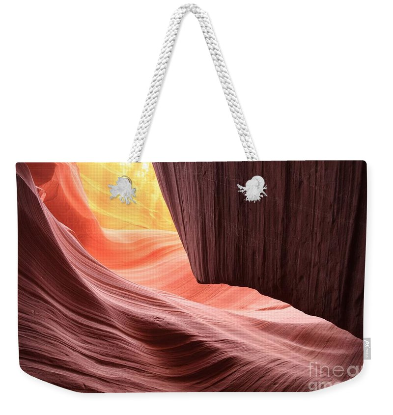 Arizona Slot Canyon Weekender Tote Bag featuring the photograph Upper Sun Glow by Adam Jewell