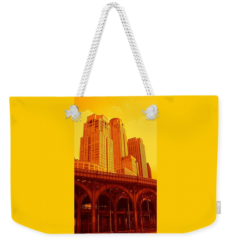 Manhattan Prints And Posters Weekender Tote Bag featuring the photograph Upper West Side And Hudson River Manhattan by Monique's Fine Art