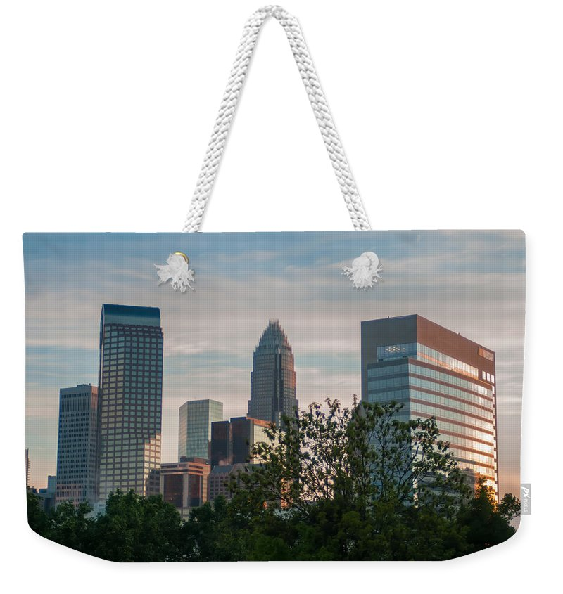 America Weekender Tote Bag featuring the photograph Uptown Charlotte North Carolina Cityscape by Alex Grichenko