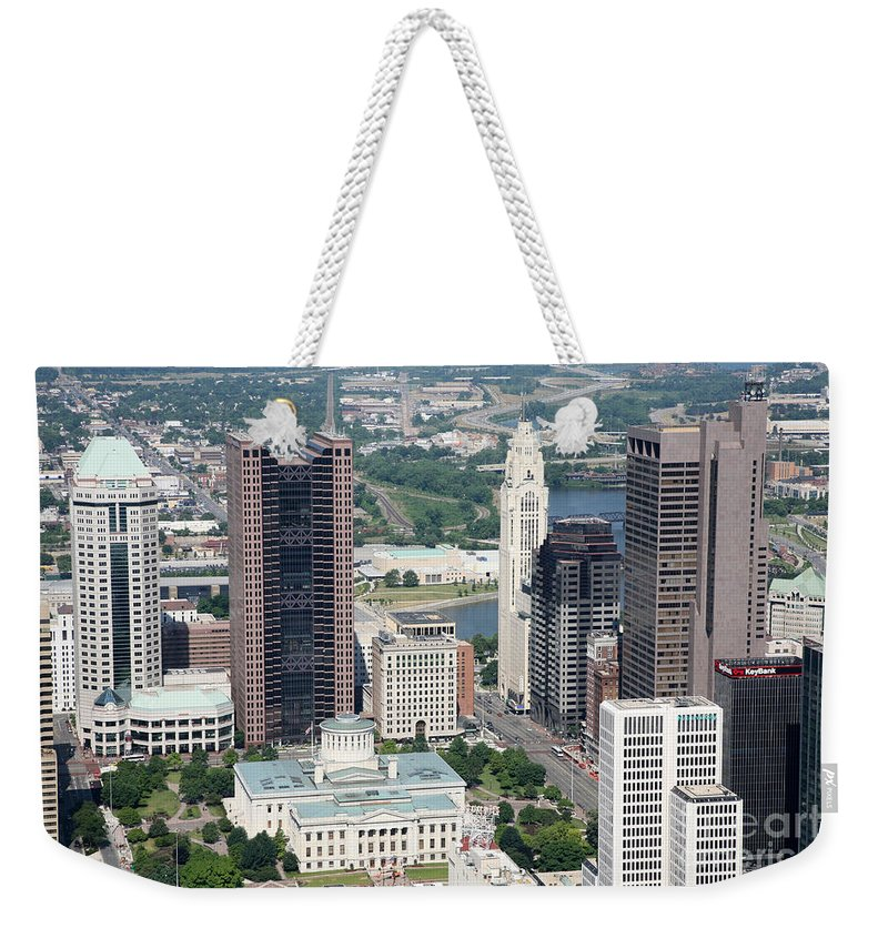 Columbus Weekender Tote Bag featuring the photograph Uptown District by Bill Cobb