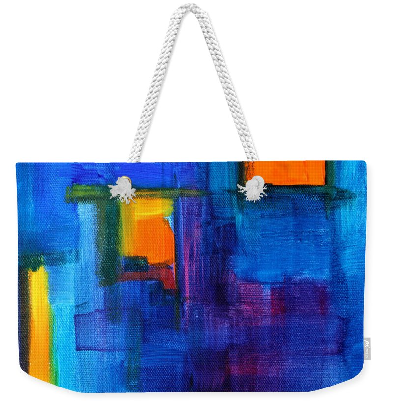 Blue Weekender Tote Bag featuring the painting Urban Architecture Abstract by Nancy Merkle