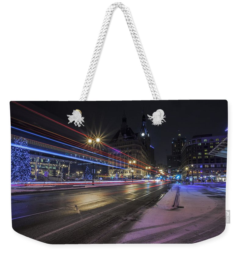Www.cjschmit.com Weekender Tote Bag featuring the photograph Urban Holiday by CJ Schmit