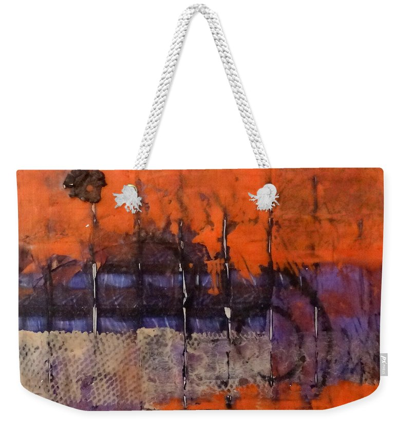 Urban Weekender Tote Bag featuring the mixed media Urban Rust by Barbara Oertli