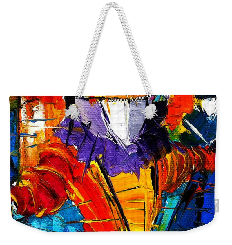 The Carnival Weekender Tote Bag featuring the painting Urban Story The Venice Carnival 2 Painting Detail by Mona Edulesco