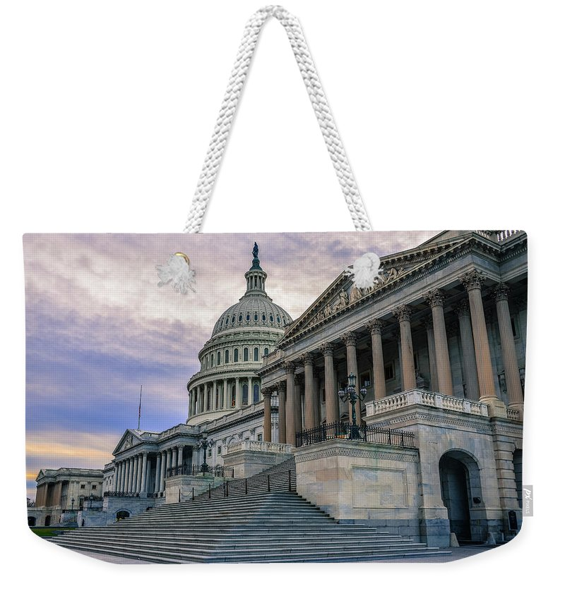 Tranquility Weekender Tote Bag featuring the photograph Us Capitol Building And Senate Chamber by Mbell