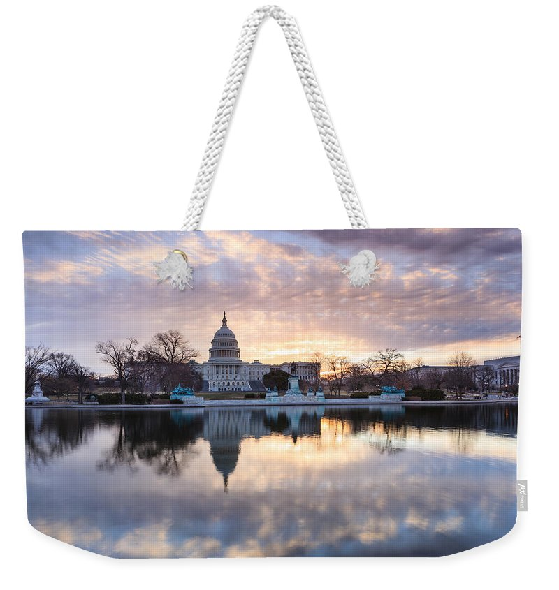 Us Capitol Building Weekender Tote Bag featuring the photograph Washington Dc Us Capitol Building At Sunrise by Carol VanDyke