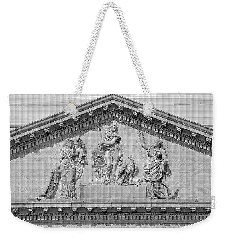 Us Weekender Tote Bag featuring the photograph Us Capitol Building Facade- Black And White by Shanna Hyatt