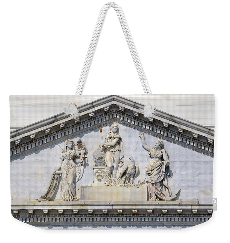 Us Weekender Tote Bag featuring the photograph Us Capitol Building Facade by Shanna Hyatt