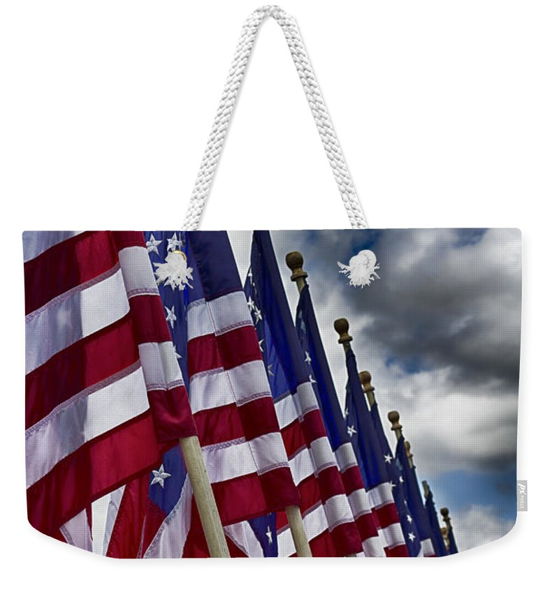 Usa Flags Weekender Tote Bag featuring the photograph Us Flags-uss Missouri Battleship by Douglas Barnard