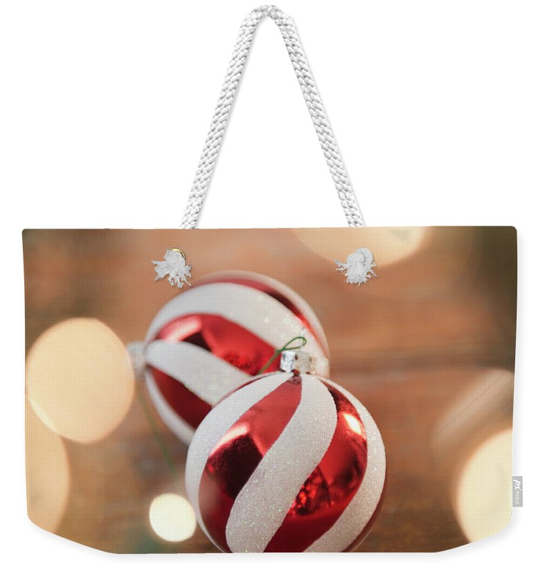 Christmas Ornament Weekender Tote Bag featuring the photograph Usa, New Jersey, Jersey City, Christmas by Jamie Grill