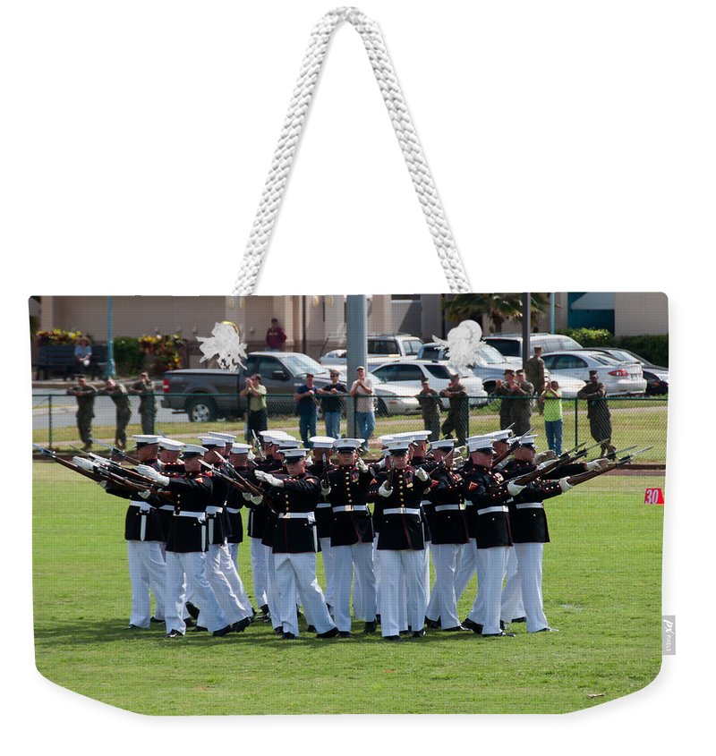 Hawaii Weekender Tote Bag featuring the photograph Usmc Silent Drill Platoon by Dan McManus