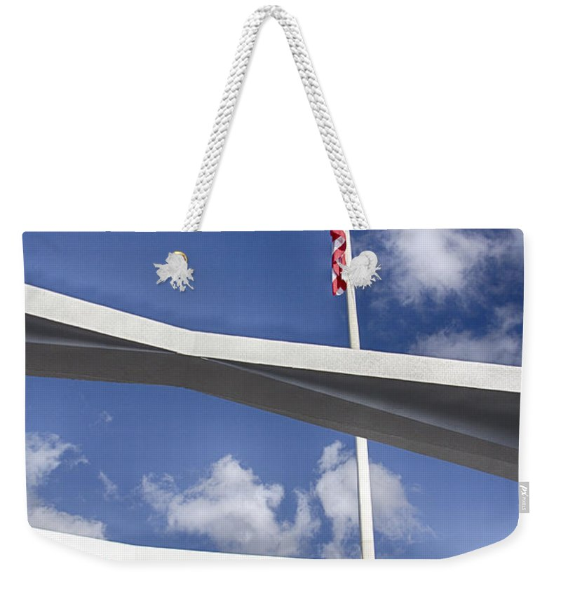 Uss Arizona Memorial Weekender Tote Bag featuring the photograph Uss Arizona Memorial by Douglas Barnard