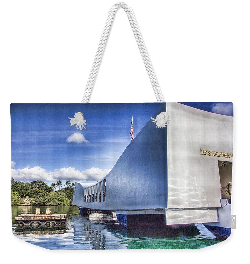 Uss Arizona Memorial Weekender Tote Bag featuring the photograph Uss Arizona Memorial- Pearl Harbor by Douglas Barnard