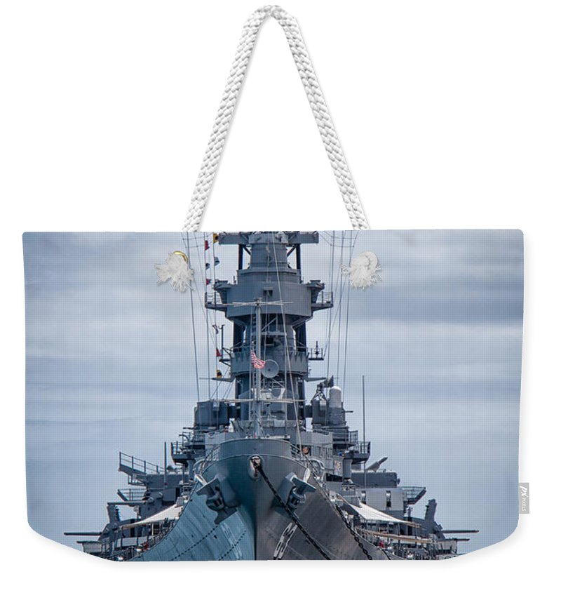 Hawaii Weekender Tote Bag featuring the photograph Uss Missouri by Mike Burgquist