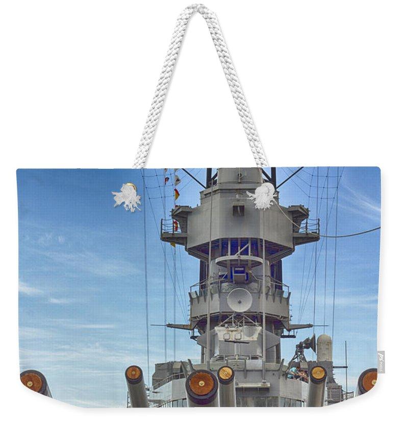 Uss Arizona Memorial Weekender Tote Bag featuring the photograph Uss Missouri-pearl Harbor Hawaii by Douglas Barnard