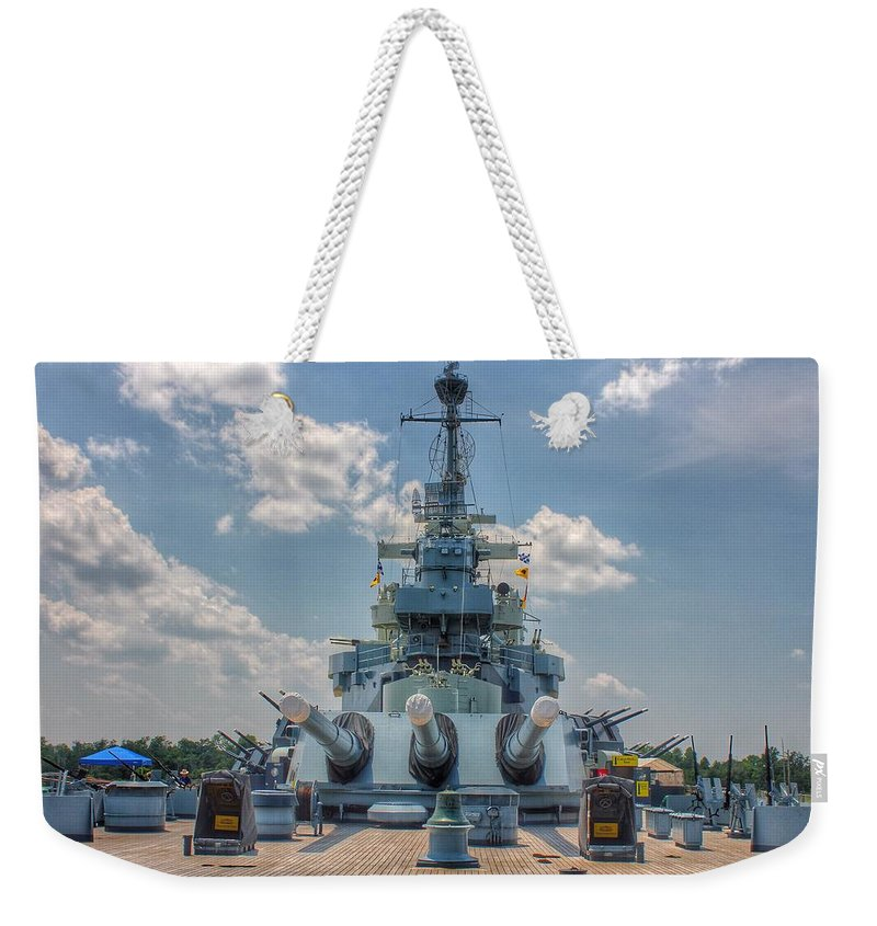 Uss North Carolina Weekender Tote Bag featuring the photograph Uss North Carolina by Chris Berrier