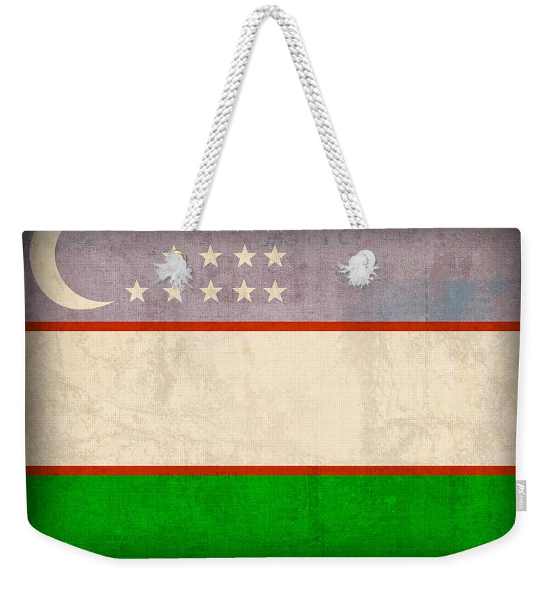 Uzbekistan Flag Vintage Distressed Finish Weekender Tote Bag featuring the mixed media Uzbekistan Flag Vintage Distressed Finish by Design Turnpike