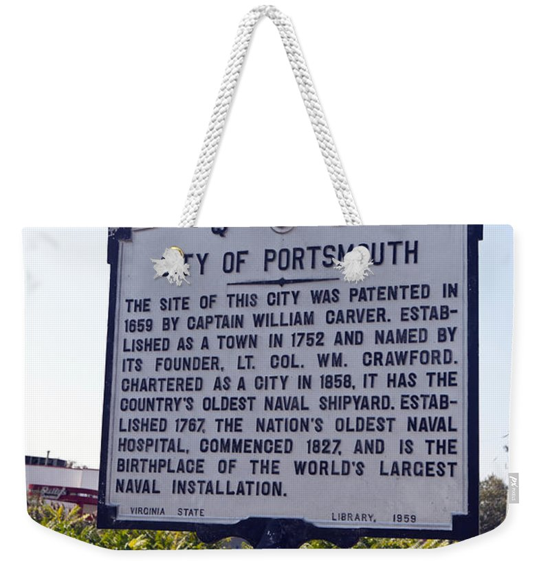City Of Portsmouth Weekender Tote Bag featuring the photograph Va-q8i City Of Portsmouth by Jason O Watson