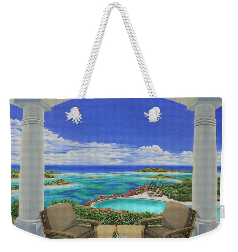 Ocean Weekender Tote Bag featuring the painting Vacation View by Jane Girardot