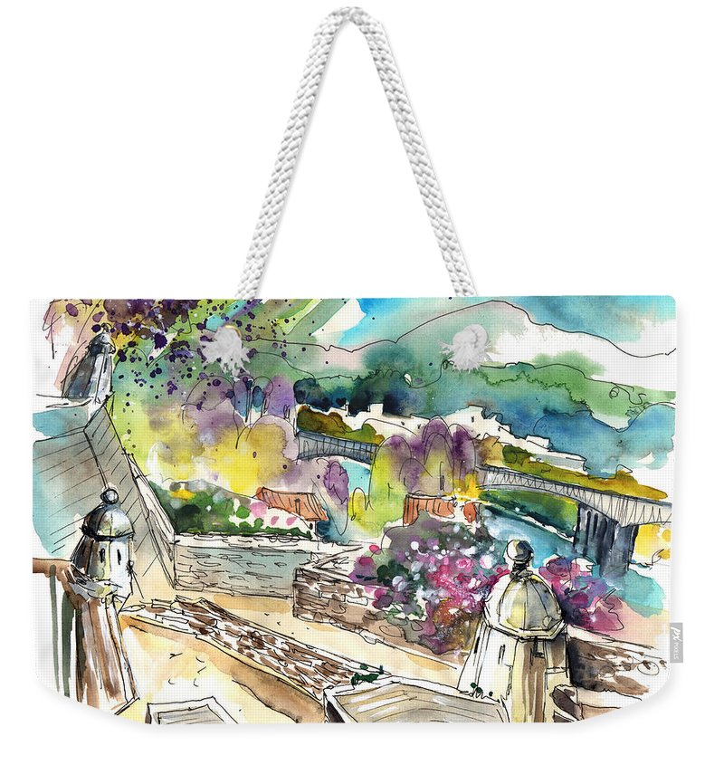 Travel Art Weekender Tote Bag featuring the painting Valenca In Portugal 04 by Miki De Goodaboom