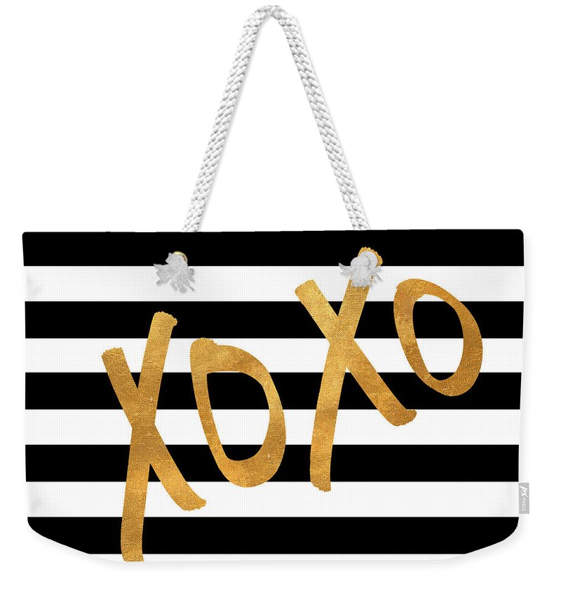 Valentines Weekender Tote Bag featuring the digital art Valentines Stripes IIi by South Social Studio