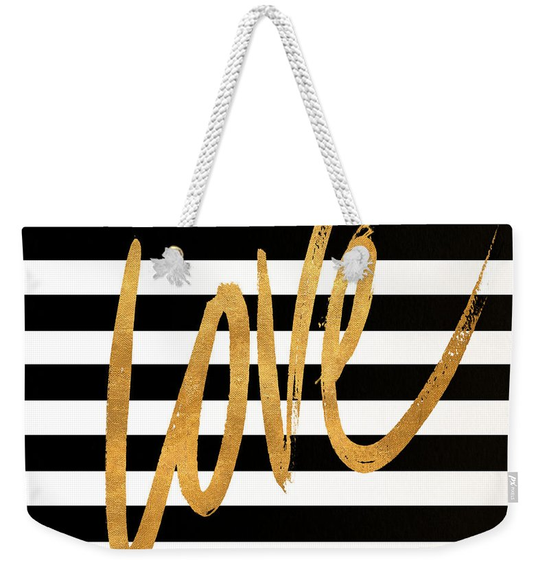 Valentines Weekender Tote Bag featuring the digital art Valentines Stripes Iv by South Social Graphics