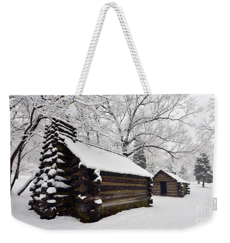 Valley Forge Weekender Tote Bag featuring the photograph Valley Forge Winter 9887 by Terri Winkler