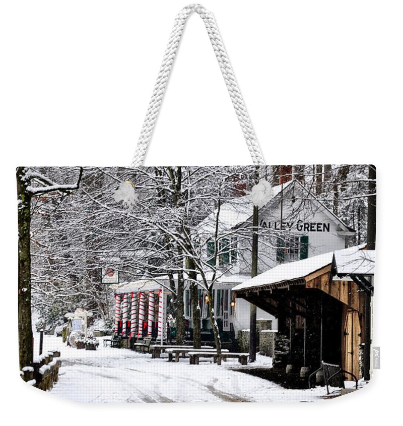 Valley Weekender Tote Bag featuring the photograph Valley Green In Winter Along Forbidden Drive by Bill Cannon