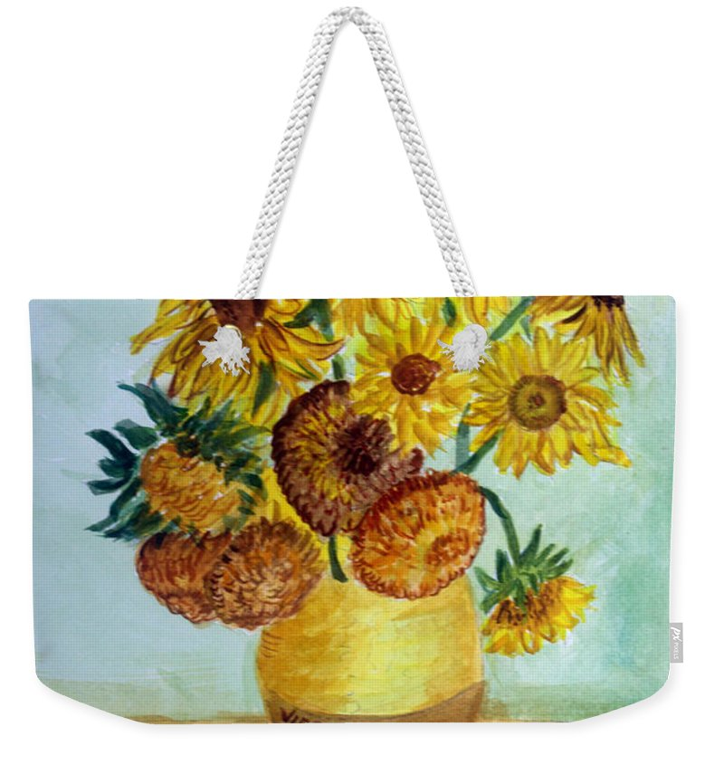 Art Weekender Tote Bag featuring the painting van Gogh Sunflowers in watercolor by Donna Walsh