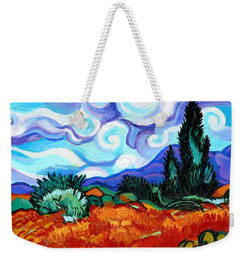 Vincent Van Gogh Weekender Tote Bag featuring the painting Van Goghs Wheat Field With Cypress by Genevieve Esson