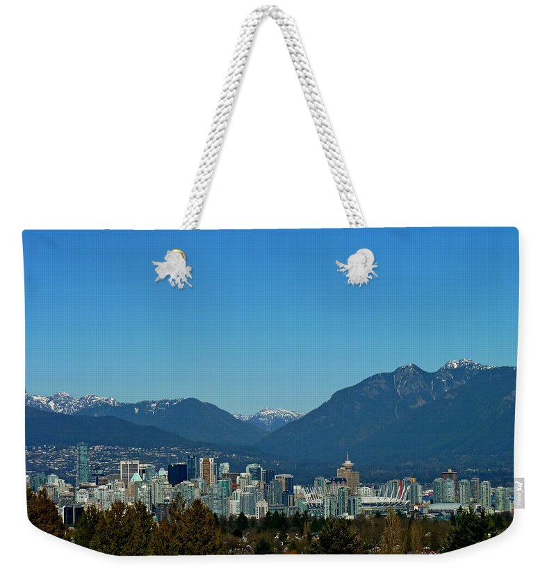 Vancouver Weekender Tote Bag featuring the photograph Vancouver Skyline by Lena Photo Art
