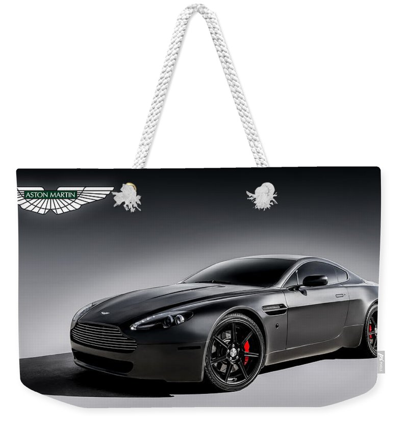 Aston Martin Weekender Tote Bag featuring the digital art Vantage V12 by Douglas Pittman