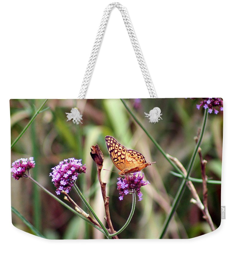 Variegated Weekender Tote Bag featuring the photograph Variegated Fritillary Butterfly by Karen Adams