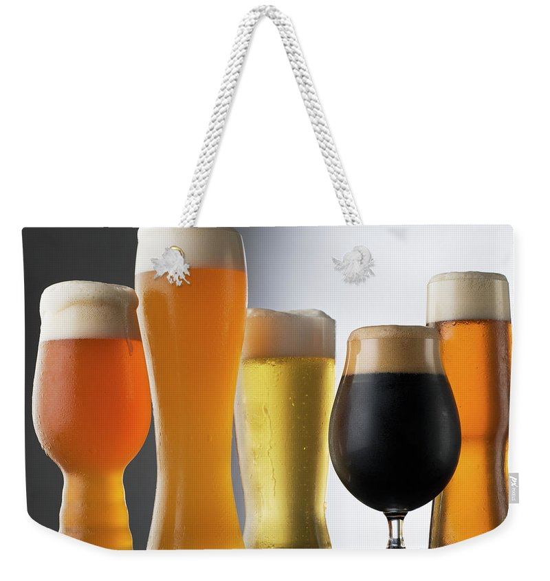 Five Objects Weekender Tote Bag featuring the photograph Variety Of Beer Glasses by Jack Andersen