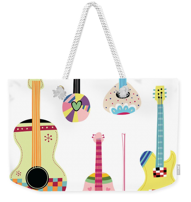 White Background Weekender Tote Bag featuring the digital art Various Kinds Of Stringed Instruments by Eastnine Inc.