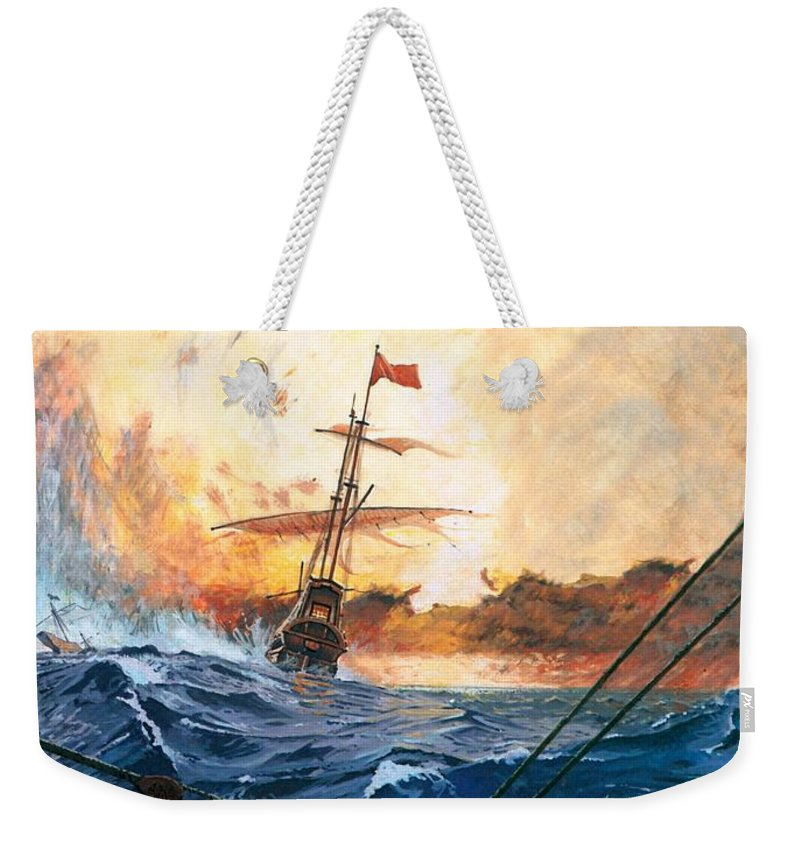 Vasco Weekender Tote Bag featuring the painting Vasco Da Gama's Ships Rounding The Cape by English School